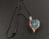 Glass Heart Pendant - Dichroic Heart - Gunmetal Ballchain Necklace