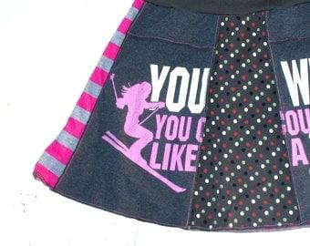 Ski Bunny Tee Skirt  - womens MINI upcycled tshirt Ski Like a Girl mini skirt - Sm Med hot pink gray white upcycled clothing snow sports