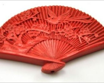 STUNNING Vintage Handcarved Red Cinnabar Fan Bird Bead Focal Pendent  60mm 1pc