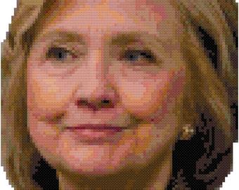 Hillary Rodham Clinton cross-stitch digital pattern