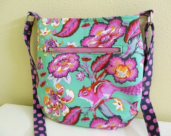 Colorful Chipmunk Small Crossbody Bag, Shoulder Bag made with Tula Pink Fabric, Chipper Purse