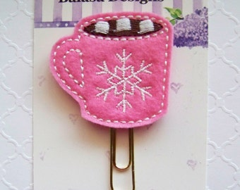 Hot Pink Cocoa Winter Planner Clip, Bookmark, Planner Accessory, Paper Clip