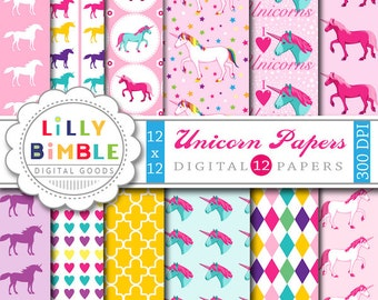 40% off Unicorn Digital Papers for scrapbooking, cards, invitations, birthdays INSTANT DOWNLOAD