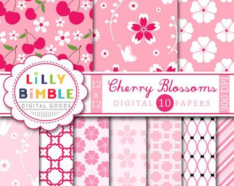 40% off Cherry Blossoms digital scrapbooking paper. COMMERCIAL USE. Sakura. Instant Download
