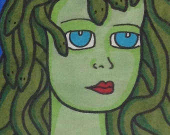 Pretty Medusa original drawing aceo