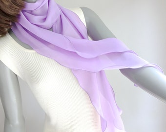 Lavender Skinny Scarf, Long Chiffon Scarf, One of a Kind, Unique Hand Dyed, Artisan Handmade, Mauve Sheer Scarf, Artinsilk, Ready to Ship