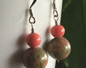 Unakite and Peach Glass Earrings
