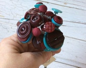 Button Flower Bouquet/Turquoise and Wine Buttons/Posy