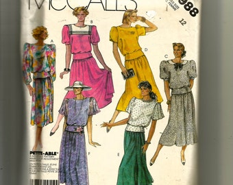 McCall's Misses' Top, Skirt and Bow Tie Pattern 2988