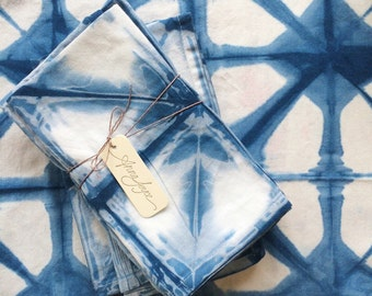READY TO SHIP Hand Dyed Indigo Cloth Napkins, Shibori, Cotton, 20 x 20 , Anna Joyce, Portland,
