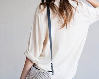 BAG SALE NEW Indigo Lines Cross Body Bag, Anna Joyce, Hand Printed