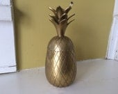 7 inch Brass Pineapple Container / Hollywood Regency
