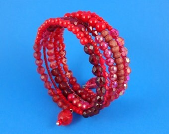 Red Memory Wire Bracelet - stacked coils bangle, shades of red, wrap around bracelet, layered beaded look, boho hippy tribal, hot vibrant