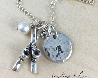 Sterling Silver Ski Charm Necklace, Personalized With Initial Charm And Birthstone, Ski Team Gift, Skier Necklace, Ski Gift