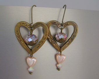 Inside Pink - Antique Brass Open Hearts, Pink Crystals, Pink Vintage Rosary Beads Recycled Repurposed Jewelry Earrings