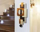Beautiful Copper, Bronze & Cream Modern Metal Pendulum Wall Clock Decor - Handcrafted Abstract Functional Art - Cream Tectonic by Jon Allen