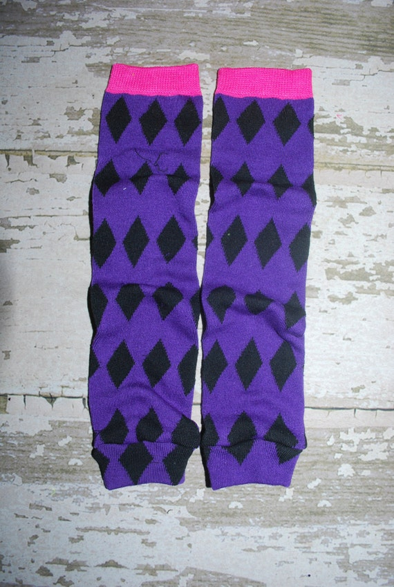 purple, black, baby leg warmers, argyle legwarmers, diamonds, jester, baby girl outfit, baby boy clothes, toddler leggings, plum, babylegs