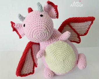 Pink Dragon Plush Amigurumi Crochet Doll