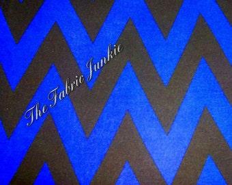 Poly lycra ity chevron knit fabric dark cobalt blue black