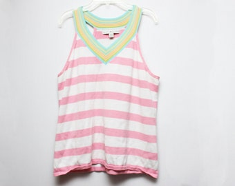Vintage 90s Tommy Hilfiger Rainbow Pink Striped Cropped Tank Top - Size XL