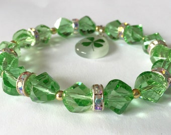 Ladies St. Patrick's Day Lucky 4 leaf clover charm bracelet with shamrock charm Green glass beads with rhinestone rhondelles and gold spacer