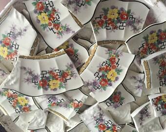 Mosaic Tiles Mix Broken Plate Art Hand Cut Pieces Supply Chintz Texture Vintage 100