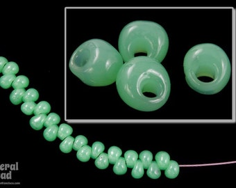 4mm Jade Green Magatama Bead (20 gm) #JBN003