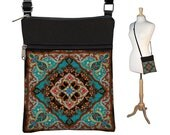 Crossbody Bag, Bohemian Bag, Cross Body Purse, Boho Fabric Handbags, Small Shoulder Bag w/ zippers Kaleidoscope Mandala blue orange red RTS