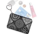 Small Zipper Coin Purse, Credit Card Holder, Key Fob Business Card Holder, Credit Card Case, Keychain Change Purse, black white gray RTS