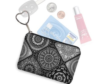 Small Zipper Coin Purse, Credit Card Holder, Key Fob Business Card Holder, Credit Card Case, Keychain Change Purse, black white gray RTS