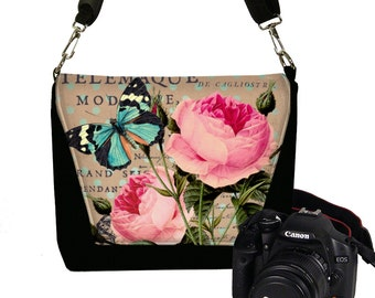 Camera Case DSLR Camera Bag Purse Messenger Bags for Women, Nikon Camera Bag Canon, Cottage Chic Pink Roses Floral, Blue Butterfly RTS