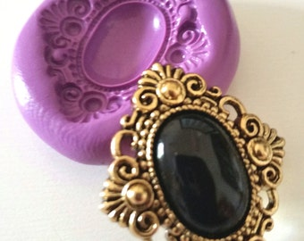 Ornate Vintage Brooch Silicone Mold Mould 30 mm  - Polymer Clay Sugarpaste Fimo Resin Icing Cake Decorating