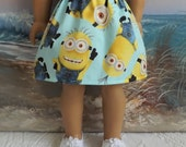 American Girl Doll Clothes Silly Minion Skirt Blue and Yellow V1