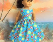 American Girl Doll Clothes Long Sun Dress Turquoise Floral Medley