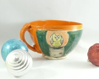 Orange and Blue Ceramic Soup Cup   / oversized mug Soup mug with handle / cereal bowl /   teacup handled bowl latte cup cappucino mug SM226