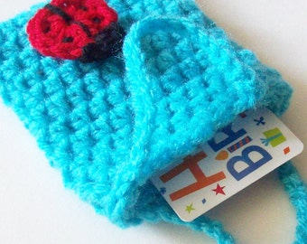 Blue Crochet Gift Card Bag, Peacock Blue Crochet Bag, Ladybug Embellishment, Small Crochet Bag, Gift Bag