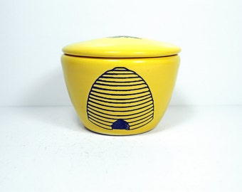 a lidded bowl / jar with a Bee Hive print shown here on a Lemon Butter yellow glaze - Made to Order/ Pick Your Colour / Pick Your Print