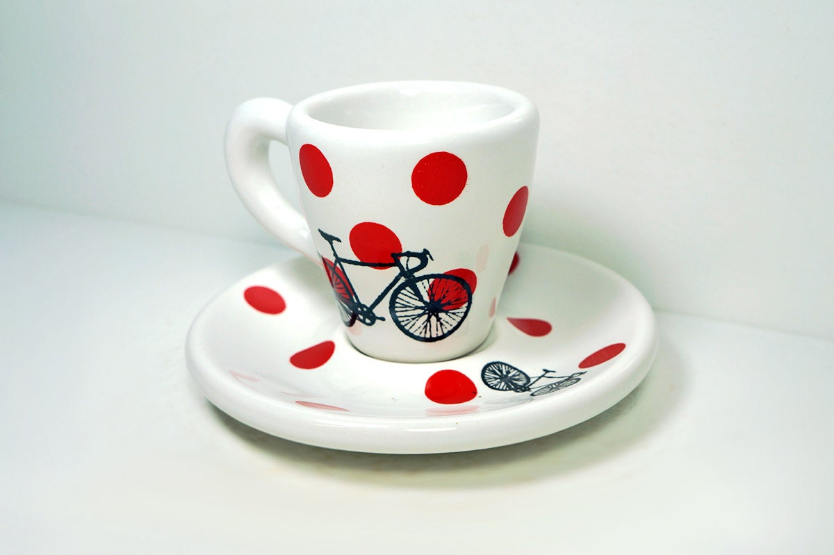 Tour de France. Espresso cup w/saucer (polkadot jersey), Made to Order.