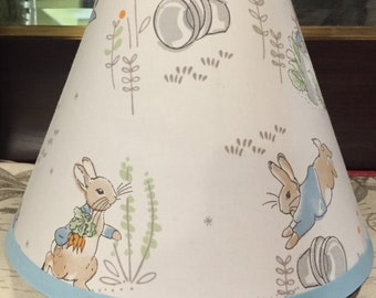 ON SALE PETER Rabbit Lamp Shade Kids Decor Kids Baby Nursery with Pottery Barn Kids fabric, Any Color Trim, 4 Sizes