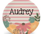 Child's Flower Plate - Floral Plate or Bowl - Child's Bowl - Melamine Bowl or Plate Personalized (Plastic)