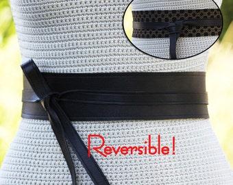 REVERSIBLE Black Leather Obi Wrap Sash Belt - bonus reversible fabric print - XS S M L XL Petite & Plus Size - Cinch Sash Custom Made