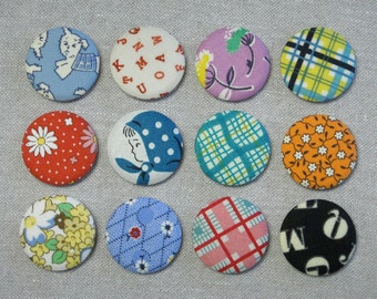 Fabric Button Magnets - Set of 12 - Feedsack and Novelty Prints 6