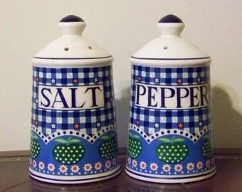 Vintage Blue Gingham Green Polka Dot Apples Salt & Pepper Shakers Price Imports Japan