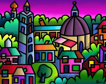 Portmeirion - colourful fine art print by Amanda Hone