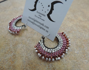 Red and Pink Brick Stitch Hoop Earrings