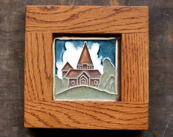 Oak Framed Mission Bungalow Style Wall Decor - Dutch House - Handmade Tile with Oak Frame - home decor