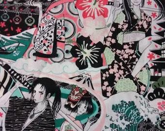 Kawaii Asian Geisha Fabric