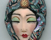 Polymer Clay OOAK   Detailed Asian  Art Doll Face with hat Cab  ASH 3