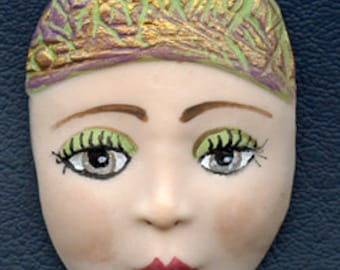 "Polymer Clay 2 1/8"" Brown Eyed  Fleshtone Face Cab with textured hat DNWF 3"