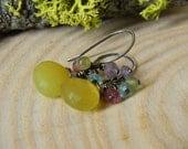 lemon yellow chalcedony earrings - oxidized rustic silver